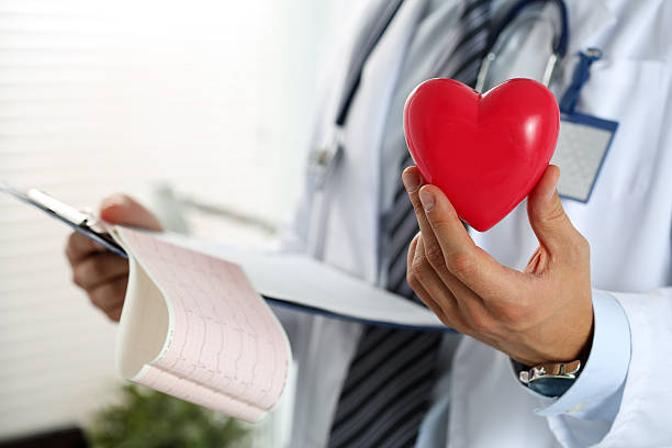 Male medicine doctor hands holding red toy heart stock photo