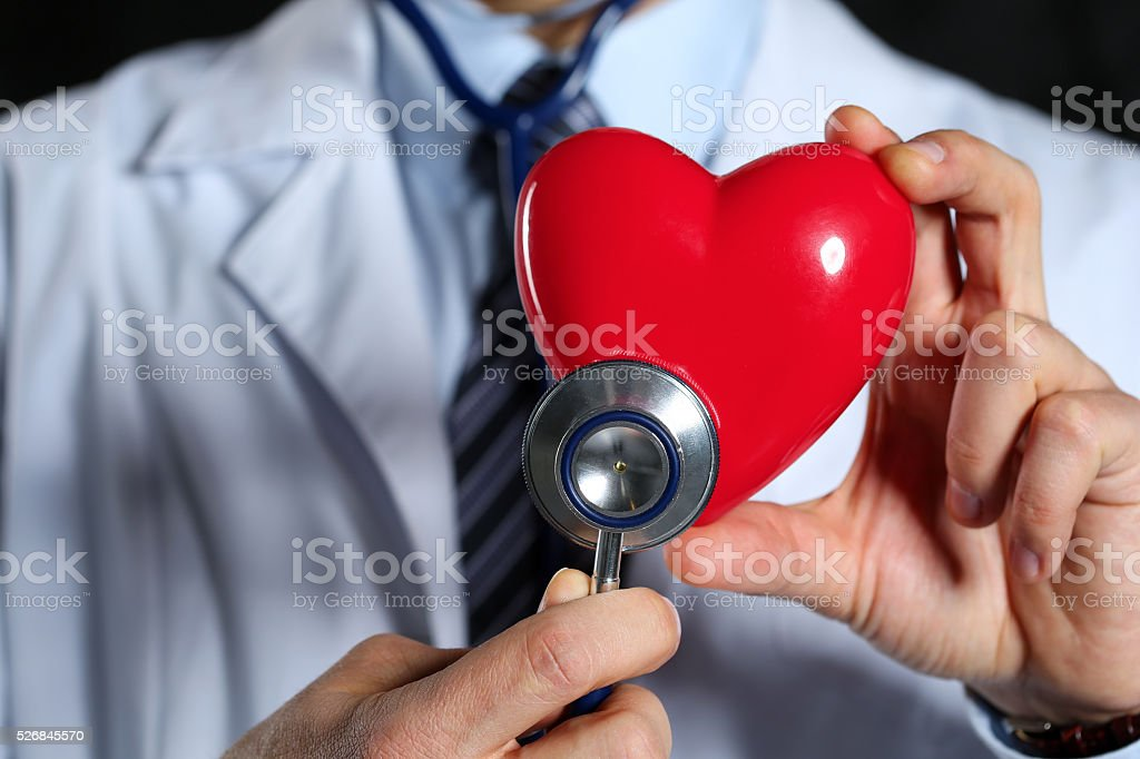 Male medicine doctor hold in hands red toy heart stock photo