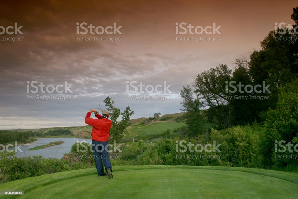 Male Middle Aged Caucasian Golfer royalty-free stock photo