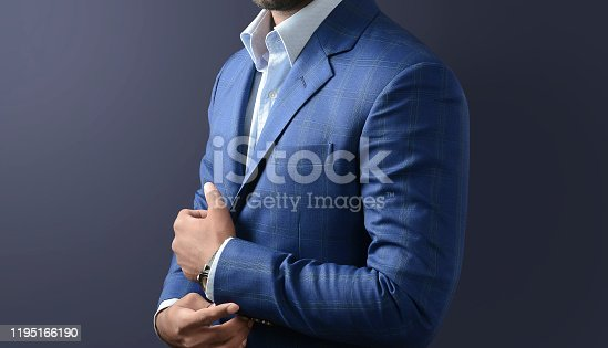Modern and confident young man suit close up