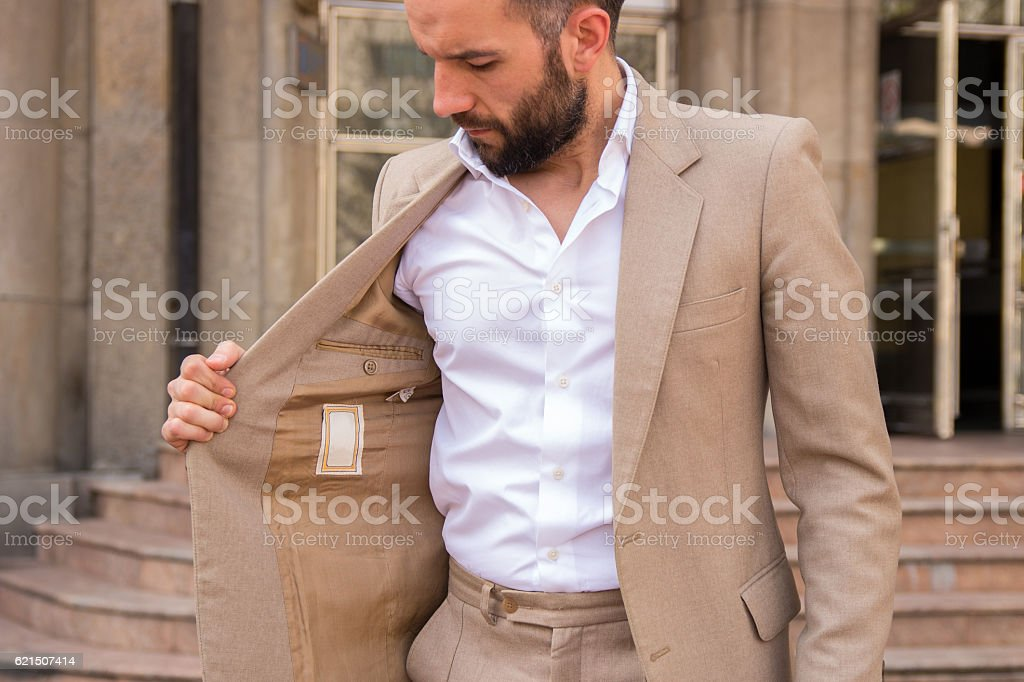 male model in a vintage suit foto stock royalty-free