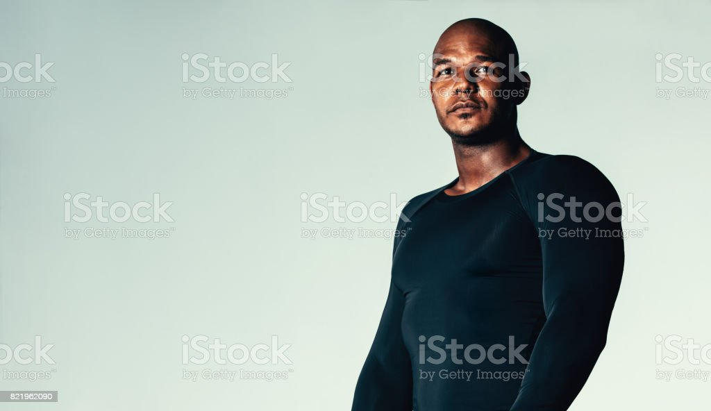 Male model in compression t-shirt stock photo