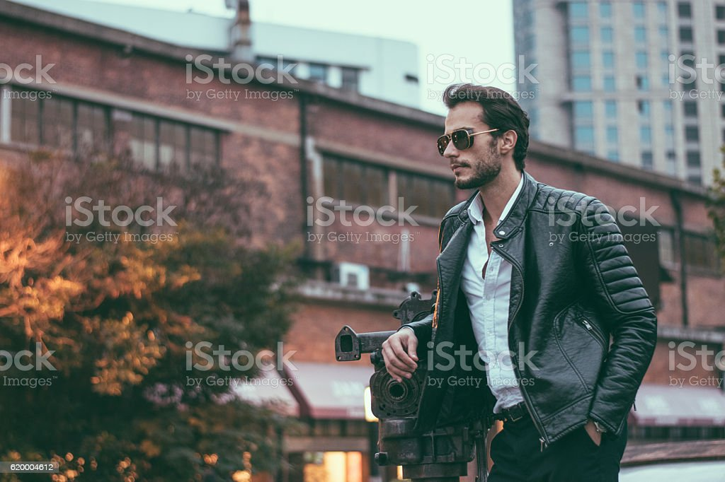 Male model in the city stock photo