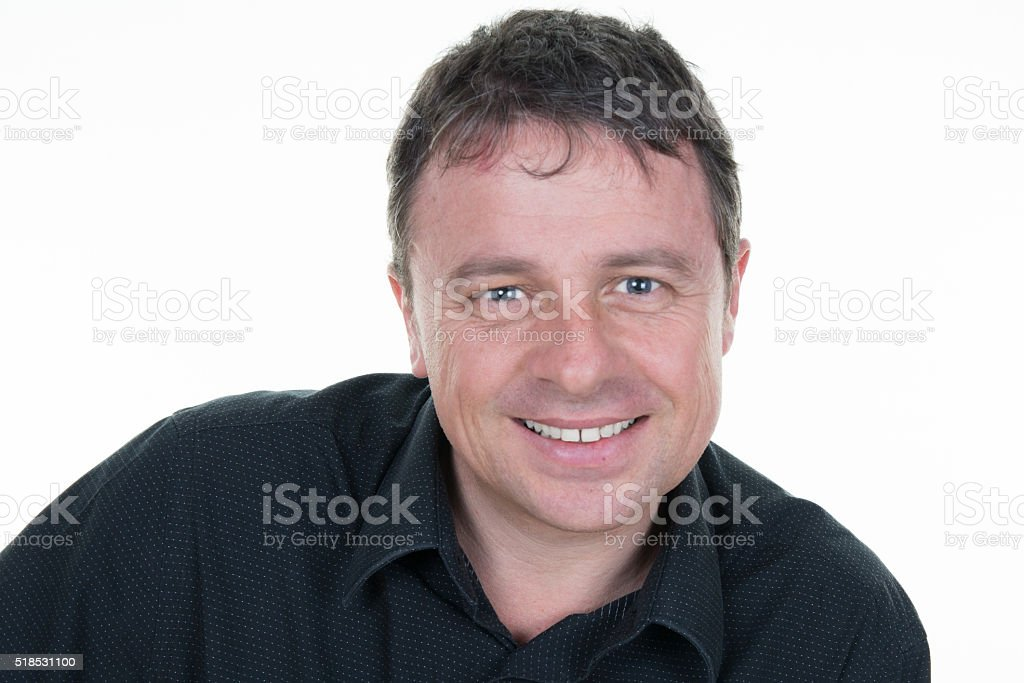 Male model looking at camera. Copy space friendly face stock photo