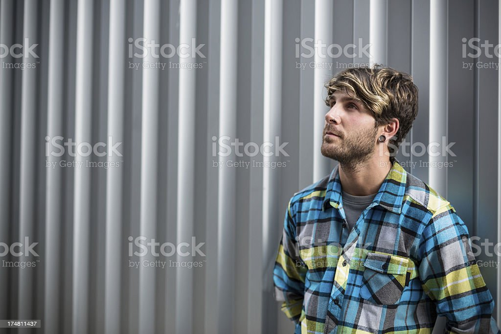 Male model looking up. royalty-free stock photo
