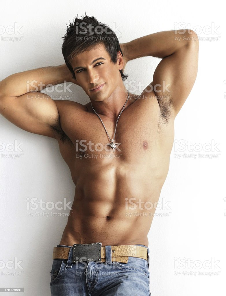 Male model shirtless royalty-free stock photo