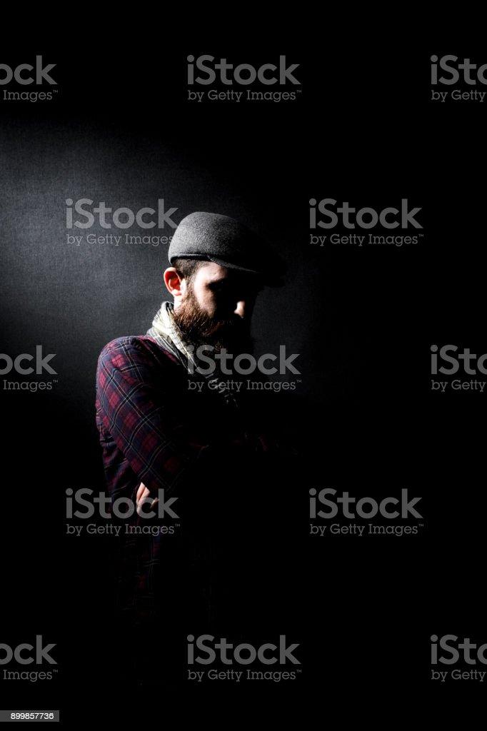 Male model shooting at studio stock photo