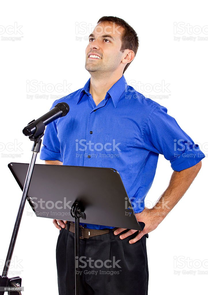 Male Motivational Speaker Public Speaking On A Podium Stock