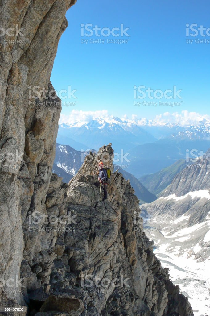 male mountain guide lead climbing on an exposed granite ridge in the Alps zbiór zdjęć royalty-free