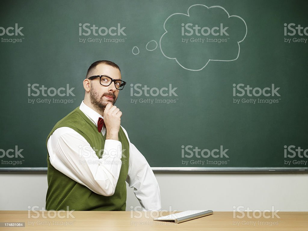 Male nerd thinking royalty-free stock photo