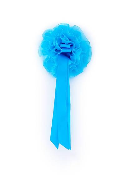 male newborn blue ribbon hanging on the house white door - türbänder stock-fotos und bilder