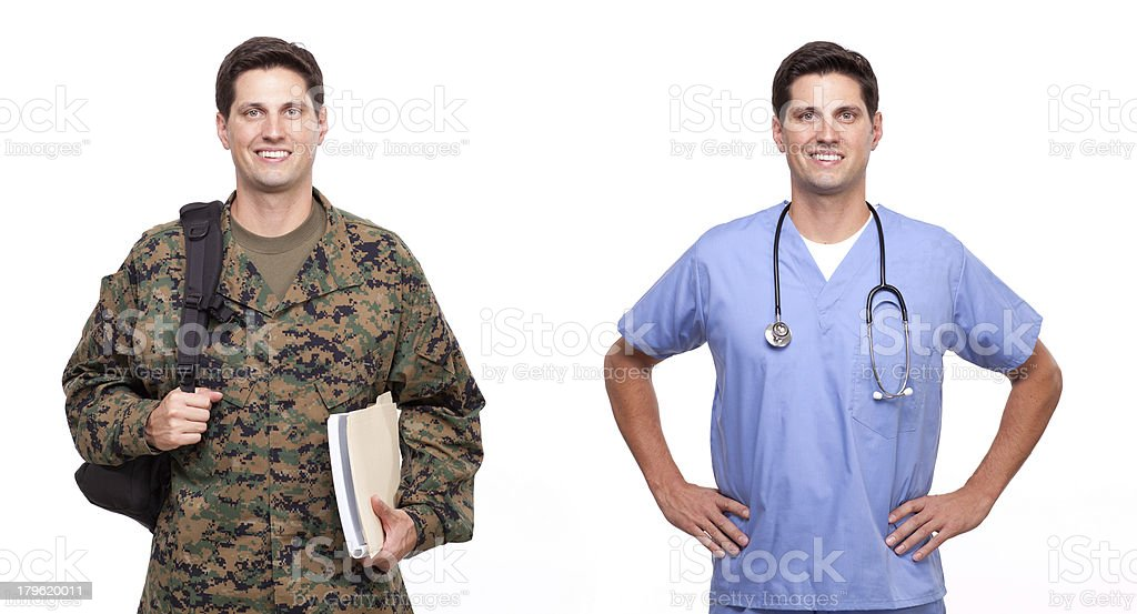 male nurse and a soldier with backpack Male nurse and soldier posing against white Adult Stock Photo
