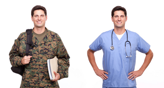 Male Nurse And A Soldier With Backpack Stock Photo - Download Image Now