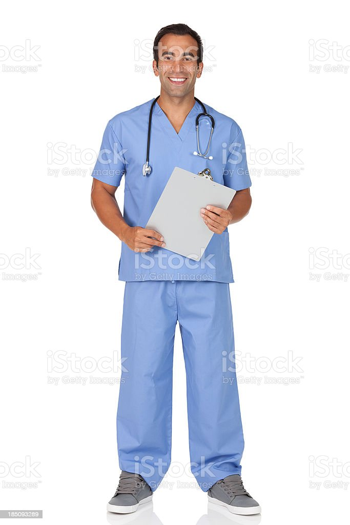 Male nurse holding a clipboard royalty-free stock photo