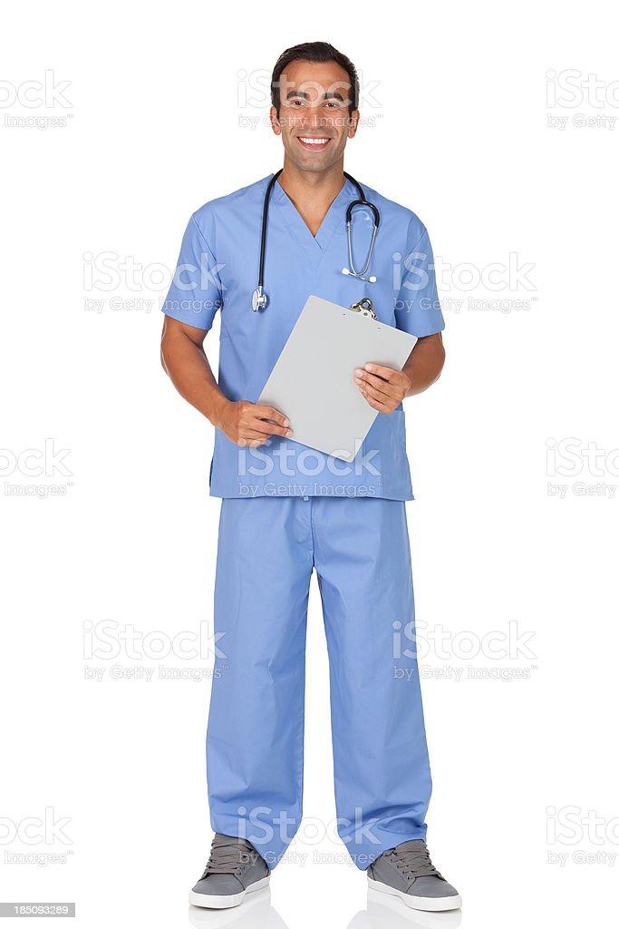 Male nurse holding a clipboard stock photo