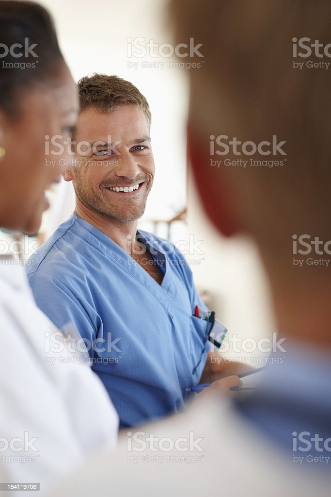 Male nurse smiling royalty-free stock photo