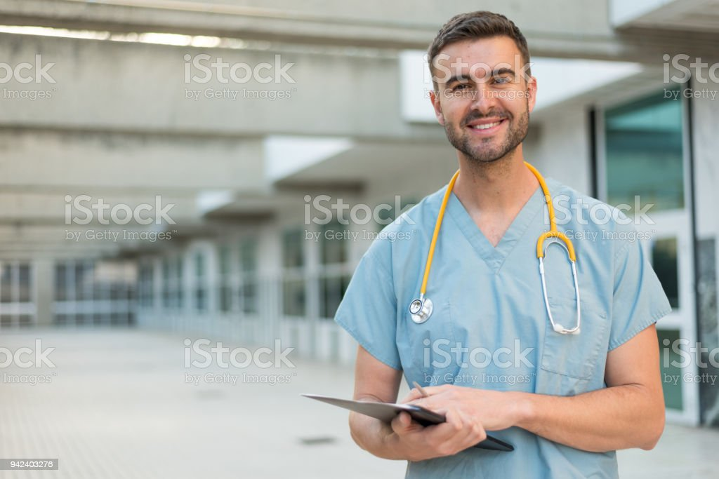 male nurse with stethoscope stock photo
