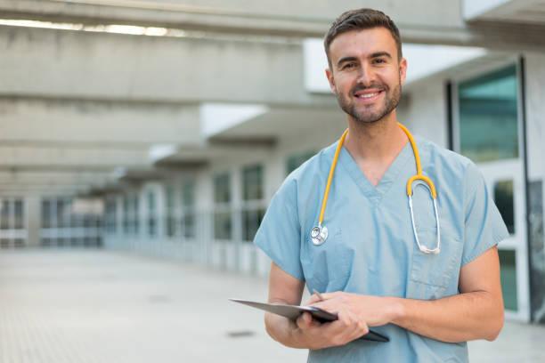 male nurse with stethoscope stock photo