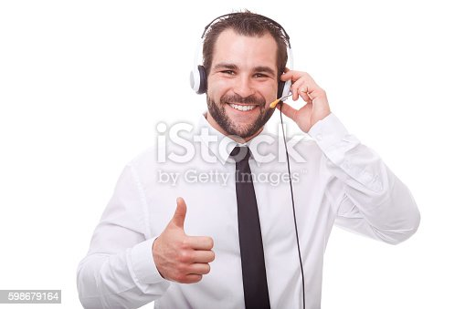 istock Male operator makes a gesture with his thumb up 598679164