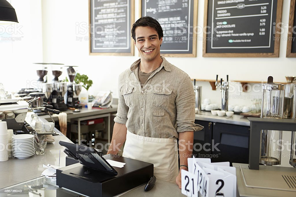 Male Owner Of Coffee Shop royalty-free stock photo