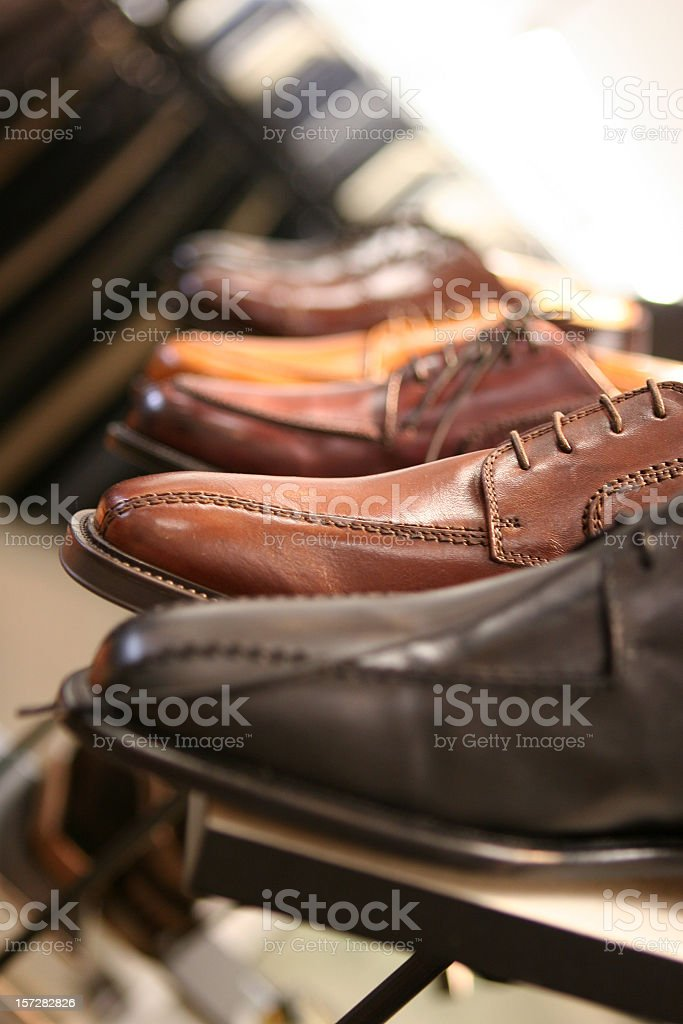 Male Oxford shoes are being displayed in a shoe store royalty-free stock photo