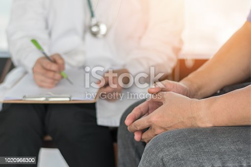965324772 istock photo Male patient having consultation with doctor or psychiatrist who working on diagnostic examination on men's health disease or mental illness in medical clinic or hospital mental health service center 1020966300