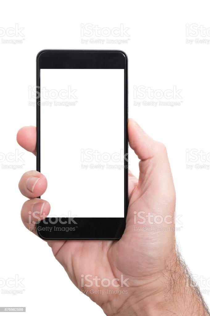 männliche Person mit beiden Händen senkrecht Smartphone mit leeren Bildschirm isoliert auf weiße Vorlage halten – Foto