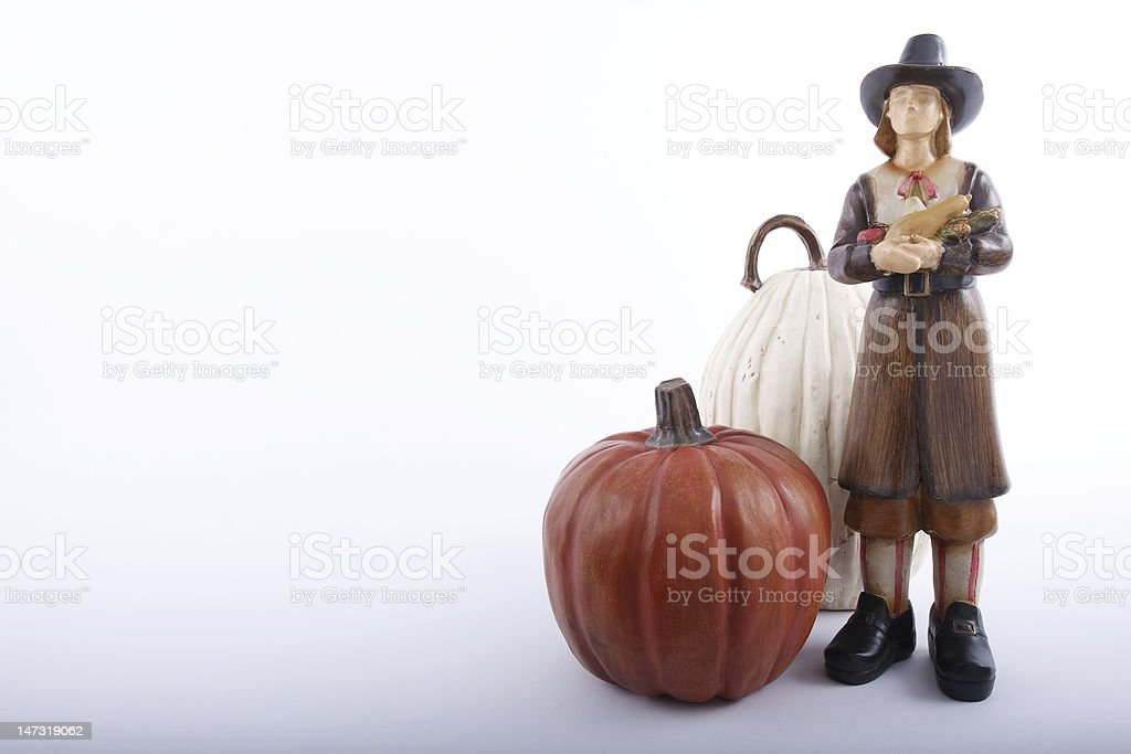 Male Pilgrim holding vegetables for Thanksgiving. royalty-free stock photo