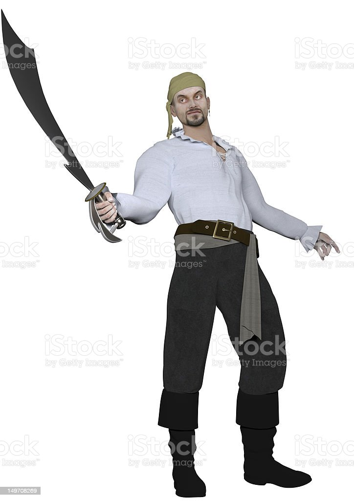 Male Pirate on White Stock stock photo
