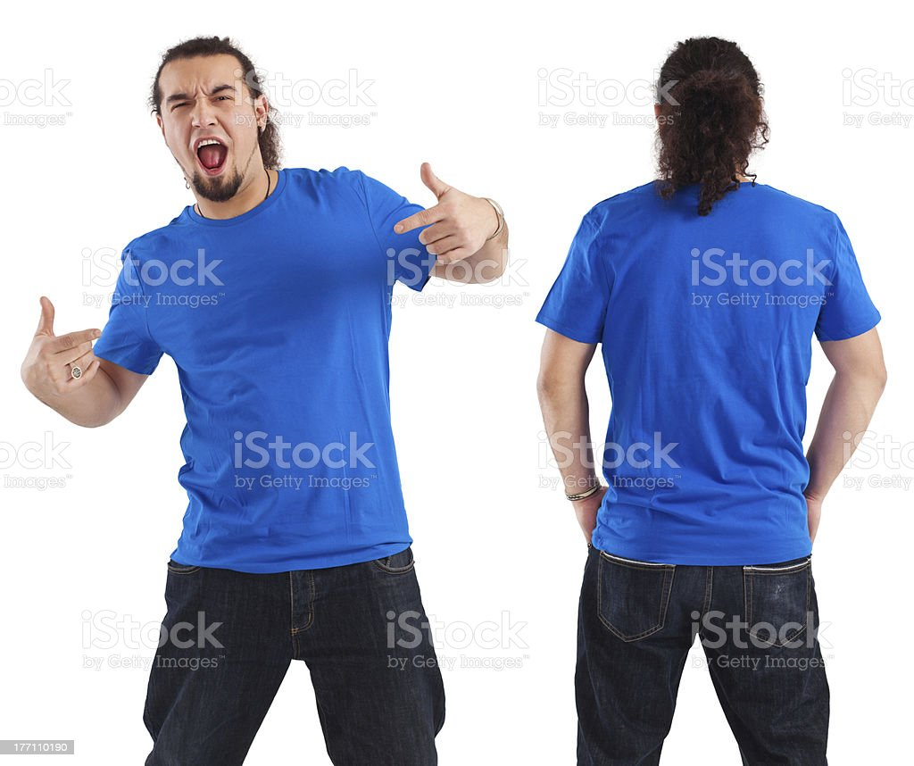 Male pointing at his blank blue shirt royalty-free stock photo