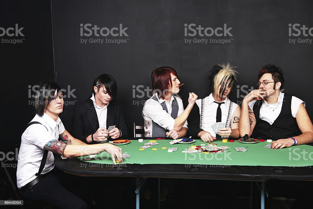 Male Poker Players Playing a Game royalty-free stock photo