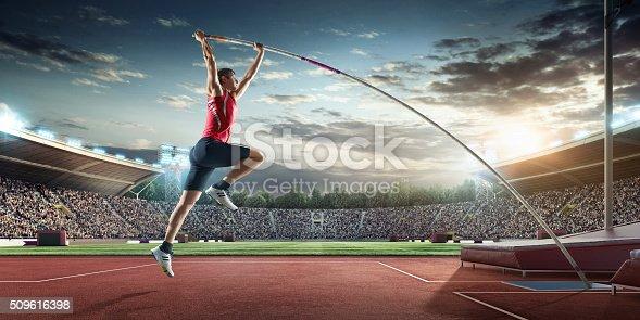 istock Male pole vaulting athlete 509616398