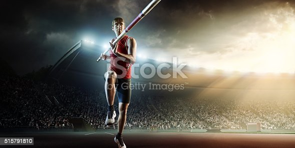 :biggrin:Pole vaulting athlete is going to perform a high jump on an . stadium full of spectators.