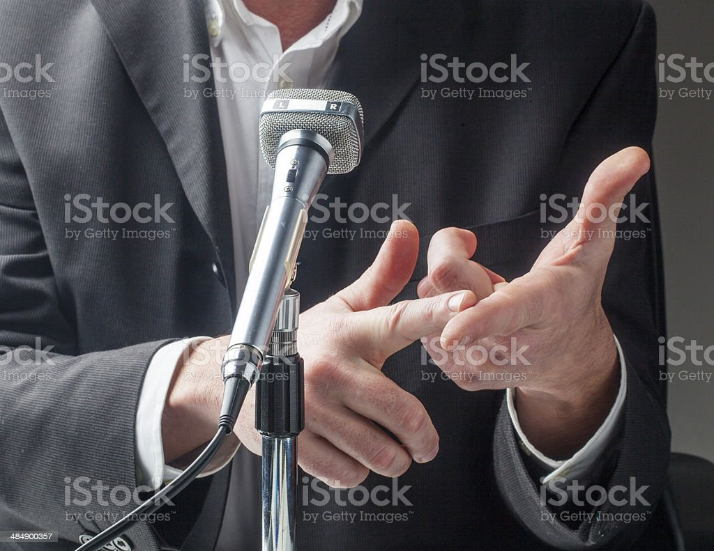 A male politician make a public speech stock photo