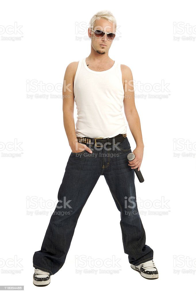 Male Popstar - full length isolated on white royalty-free stock photo