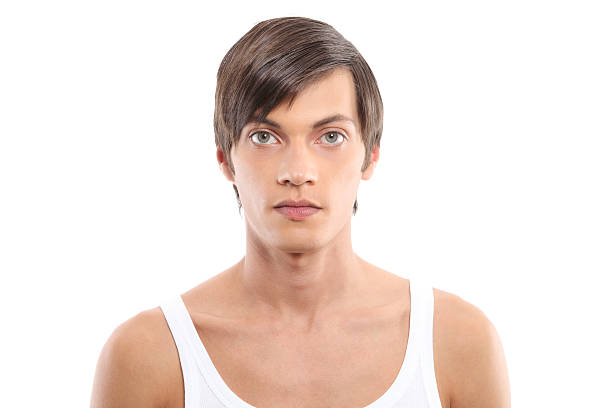 male portrait on white background - transsexual stock photos and pictures