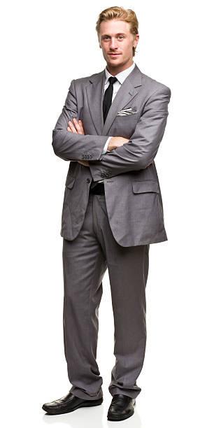 男性のポートレート - 腕組み スーツ ストックフォトと画像