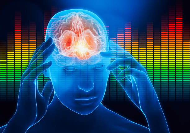 Male portrait with hands touching his temples with audio equalizer on the background. Impact of the sound, the music or the noise on the human brain. Cerebral activity, music, headache conceptual 3d rendering illustration with copy space. stock photo