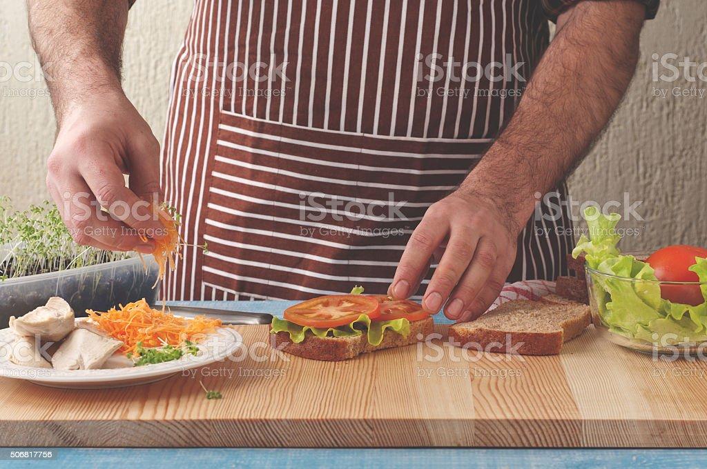 Male preparation a delicious chicken stock photo