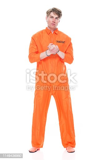 Male prisoner wearing handcuffs