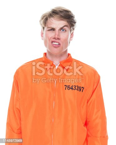 Male prisoner wearing orange jumpsuit
