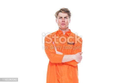 Male prisoner wearing orange jumpsuit