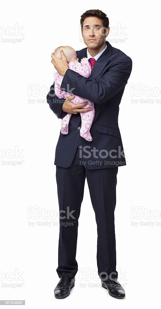 Male Professional Holding Baby In His Arms - Isolated stock photo