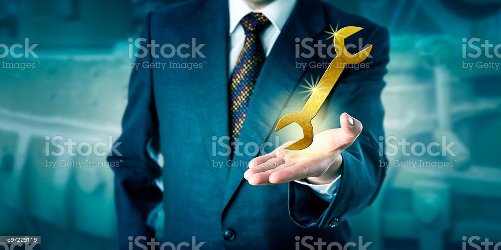 Male Professional Is Presenting A Golden Wrench stock photo