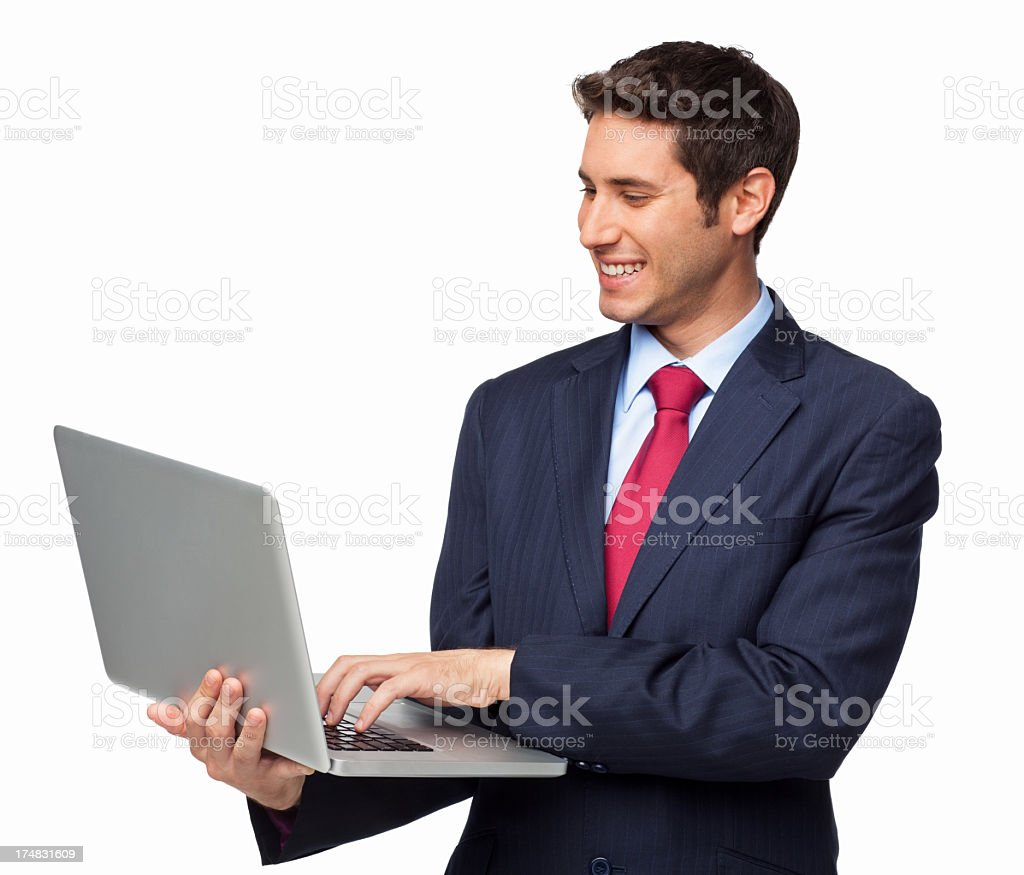 Male Professional Using Laptop - Isolated royalty-free stock photo