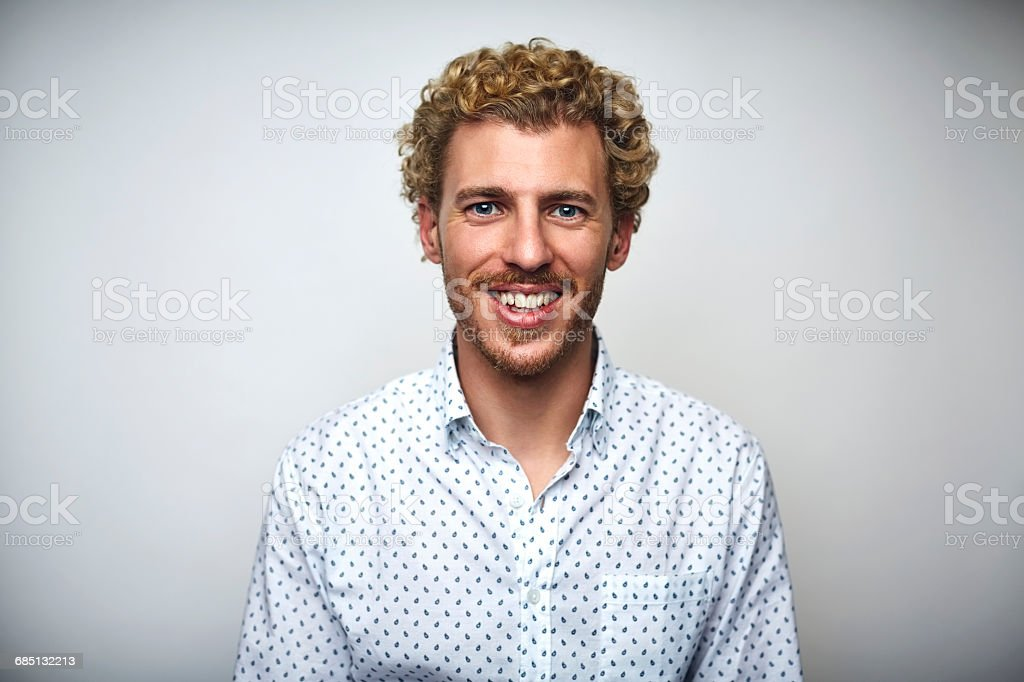 Male professional with curly hair over white - foto stock