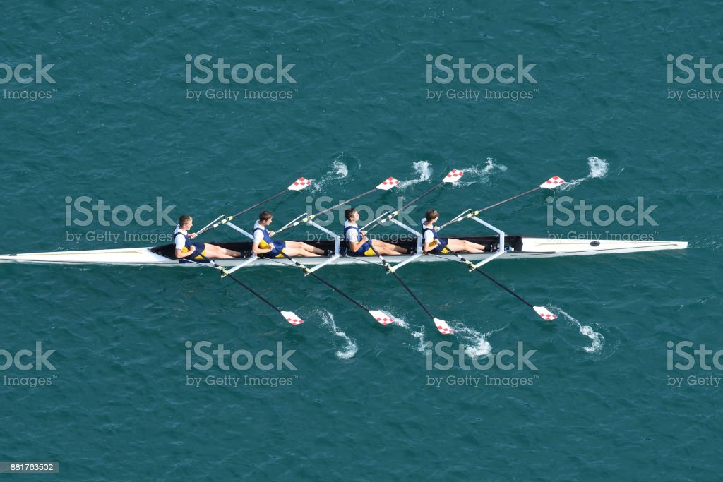 Male Quadruple Scull Rowing Team At the Race, Lake Bled, Slovenia stock photo