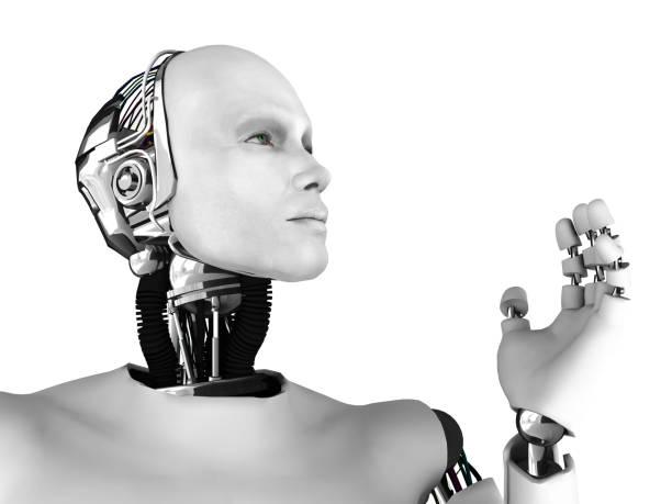 Male robot head in profile. stock photo