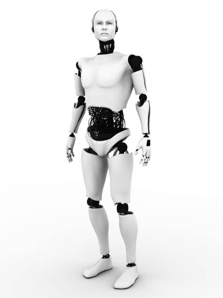 Male robot standing. stock photo