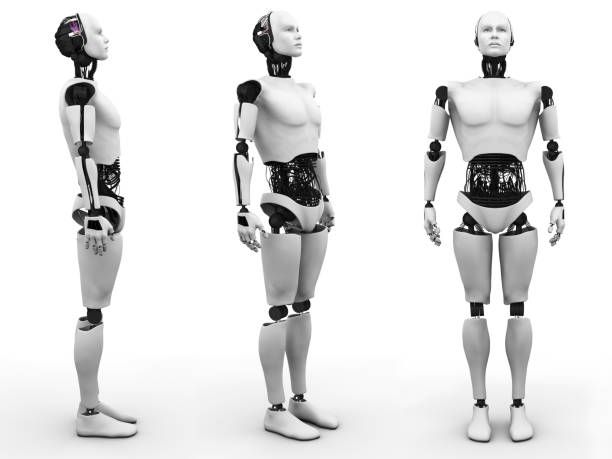 Male robot standing, three different angles. stock photo